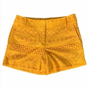 Loft Orange Yellow Riviera Short Eyelet Crochet